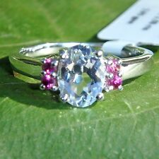 Ring 1.5 ct Natural White Topaz 925 Sterling Silver Rhodium Size 7 Accent Garnet