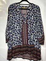 Democracy Women's Blue Print 1/4 Lace Up Front Wing Sleeve Tunic Size 2X