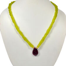 5 Strand Top Sparkling Red Ruby Hydrothermal Peridot Necklace Cabochon Beads