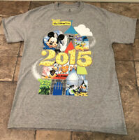 2015 Walt Disney World Gray Medium T-Shirt Mickey Mouse Goofy Donald Duck Nemo