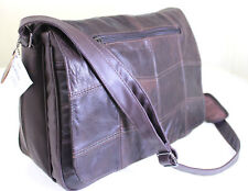 "15"" 16"" Cow Hide Real Leather Laptop Messenger Briefcase Business Work Bag Case"