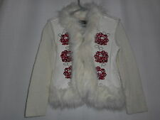 Girls Children's Place Sweater Coat Faux Fur Ivory Red Youth Size S 5/6 VGC