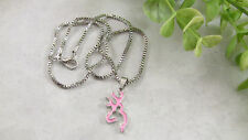 Women's Pendant Necklace Browning Deer Head Logo Bright Pink Silver-Toned 18-1/4