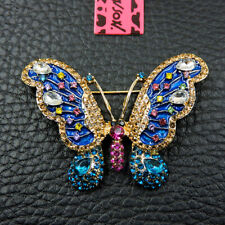 New Betsey Johnson Blue Rhinestone Bling Butterfly Crystal Charm Brooch Pin