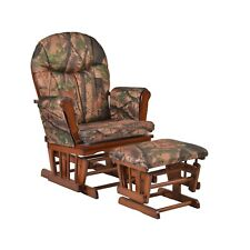 Artiva Usa Wood Rocking Chair with Camo Cushion Glider and Ottoman, Cherry