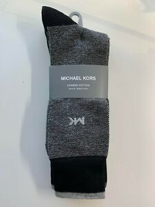 Michael Kors Men's Combed Cotton 3 Pairs Crew Black/Gray Socks One Size