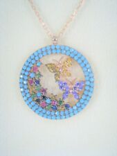 Butterflies TURQUOISE AMETHYST RUBY CITRINE Necklace ROSE GOLD-plate 925 SILVER