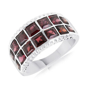 5.67 Ct Square Cut Red Garnet Mens Band Ring Sterling Silver