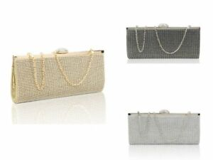 New UK Women's Stylish Diamante Evening Clutch Bag/Prom//Wedding/Party Handbag