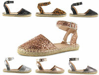 Womens Ladies Holiday Glitter Espadrilles Flat Ankle Strap Shoes Sandal Size 3-9