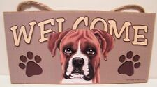 Welcome Boxer Natural Ears Dog Breed Wood Sign/Wall Plaque