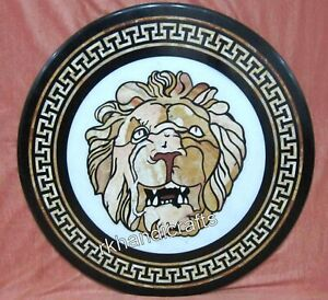 36 Inches Marble Dining Table Top Lion Face Pattern Office Table Antique Look
