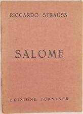 RICHARD STRAUSS SALOME OSCAR WILDE OTTONE SCHANZER 1940 TEATRO LIBRETTO D'OPERA