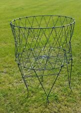 Vintage Mid Century Collapsible Folding Wire Basket Metal Laundry Cart