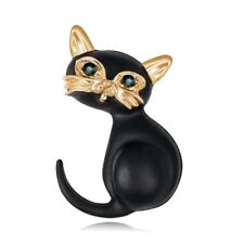 Women Costume Jewelry Party New Gift Fashion Crystal Cat Animal Brooch Pin Charm