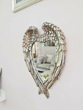 Vintage Angel Wings Cherub Wall Mirror Shabby Chic Heart Shaped Vanity Mirror