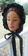Civil War Dress Victorian Accessory Black Crochet Bonnet~Copied From Original
