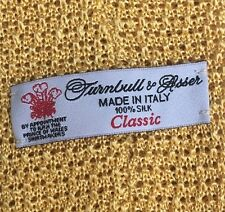 Turnbull And Asser Yellow Silk Knitted Tie Excellent Condition