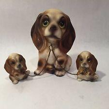Vtg Beagle Spaniel Dog Family Figurines Chained Brinn`S Japan Long Ears Big Eyed