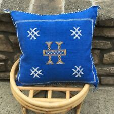 Moroccan Sabra Cactus Silk Pillow Cover Handmade Blue