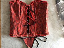 E-SHINE CO Women's Floral Overbust Corset G-string lace up back, red uk20-22