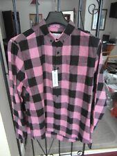Mens River Island Shirt Dark Pink Check Size Medium