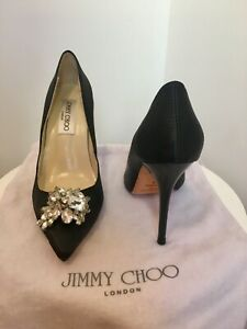 Jimmy Choo Black Satin Crystal Embellished Classic Stiletto Pointed Toe Pumps 37