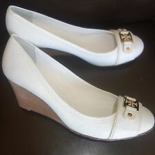 Tory Burch Natalya Mid Wedge Shoes Tumbles Leather Bleach White sz 11 M new