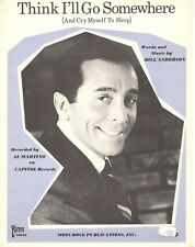 Al Martino-Think I'Ll Go Somewhere And Cry Myself To Sleep-Sheet Music-1966-New
