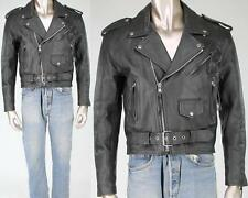 Vintage Bonus Motorcycle Biker Punk Ramones Rock Belted Black Leather Jacket
