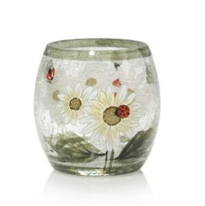 Yankee Candle LADYBUG Crackle Glass Barrel Votive Tea Candle Holder Daisy