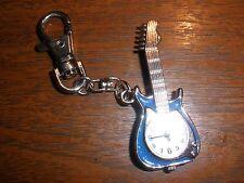 Dakota Yoshi Oshi Blue Glitter Guitar Charm Clip-On Key Ring Purse Watch