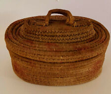 Antique Small Tightly Woven Native American Small Basket w/ Attached Lid