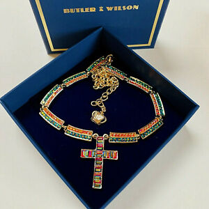 SIGNED BUTLER & WILSON SPARKLING AB CRYSTAL GOLD PLATED CROSS NECKLACE (boxed)
