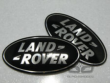 LAND ROVER DISCOVERY 3 BLACK SUPERCHARGED GRILL & BACK REAR OVAL BADGE SET PAIR