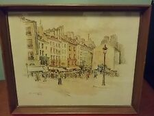 """Vintage RUE MOUFFETARD by RPluim Signed Lithograph 11"""" x 14""""  #1337"""