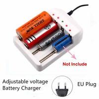 Justierbares EU-Stecker-Ladegerät für 26650 18650 14500 10440 AA AAA Batterien