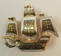 "Vintage Spain Faux Damascene Sailing Ship Pin Brooch Gold Silver Tones 1.5"" x 2"""