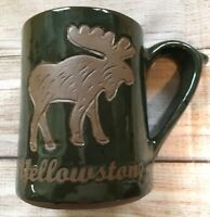 Heavy Studio Signed Pottery Green Yellowstone Moose Tracks Mug Cup XL Lake Cabin