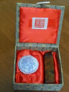 Old Chinese Carved Stone Wax Seal Stamp Porcelain Box w/Red Paste- Good Fortune