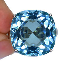 AQUA BLUE AQUAMARINE CUSHION RING SILVER  925 20.60 CT 18X17.7 MM. SIZE 6.25