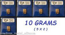 10 GRAMS GOLD 24K PURE TGR PREMIUM BULLION 5 BARS LOT PREPPER PERFECT SIZES !!!