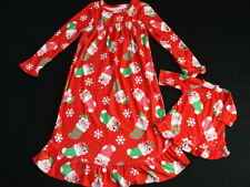 NWT Girls Fleece Christmas Nightgown Size 5 Red Doll Gown Winter Pajamas Pjs NEW