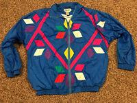 Vtg Slade Windbreaker Track Jacket Mens M Blue Nylon Zip Up A14