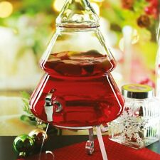 Glass Drinks Dispencer 2 Gallon Christmas Tree Drinks with Spout & Base Cocktail