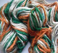 Glossy Silk Yarn, Green/Rust/White. 100g Textile Arts/Knitting/Crochet/Weaving
