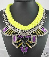 Newest Design huge Lady Statement Clear crystal chunky chain charm necklace q986