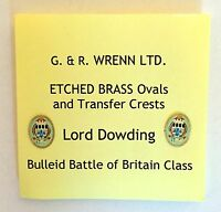 WRENN model railway LORD DOWDING brass shields and crests for Bulleid locos
