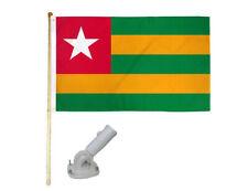 New listing 5' Wooden Flag Po 00006000 le Kit W/ Nylon White Bracket 3x5 Togo Country Polyester Flag