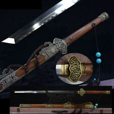 T10 Steel Clay Tempered Blade Peony TangDao Battle Sword Polishing Sharp #1357